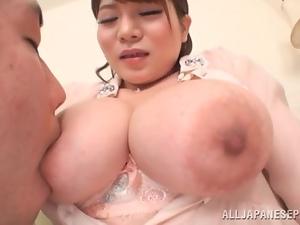 Kurumi Kokoro the nice babe with pigtails sucks a cock