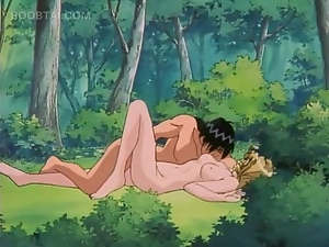 Outdoor romantic hentai fucking scene with naked doll