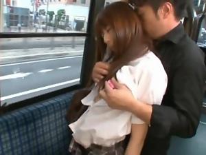 Japanese student Rina Rukawa gets fucked in an empty bus