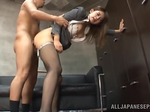 Pretty and horny chick office girl from Japan gets fucked