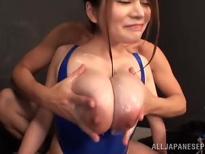Kurumi Kokoro shows her gigantic boobs and gets laid