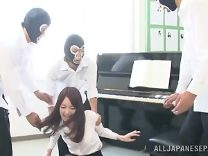 Moe Mitsui was practicing piano, when they broke in and fucked her