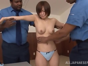 Yuu Shinoda get naughty with two black police officers and enjoys it