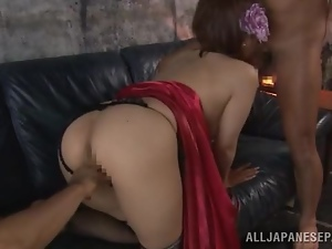 Satou Haruka sucks two dicks and gets her Japanese cunt fucked hard