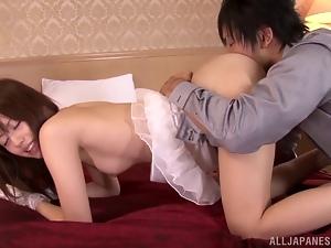 Adorable Japanese milf Rina Rukawa enjoys some ardent indoor banging