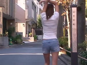 Amateur Teen Yuuno Hoshi plasy with his cock in a hot POV