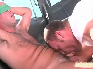 Gay sex addict mouth fucking straight cock in the bus