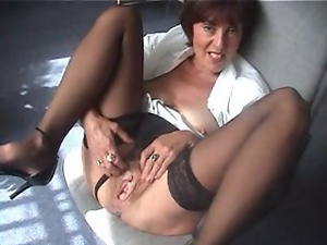 mature office woman fondles her pussy and shows boobs