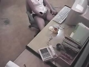 Slim office girl caught masturbating at her work place