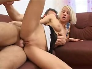 Desirable blond babe rides that man till he loses his mind