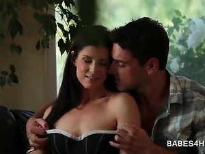 Brunette siren turned on with soft caresses and kisses