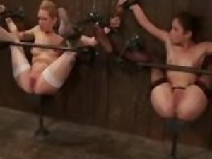 Two sexy babes are pinned to the wall and tied up
