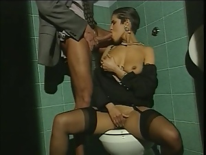Sexy brunette milf gets unforgettably fucked in a public bathroom