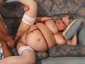 Fat grey-haired granny enjoys some naughty banging indoors