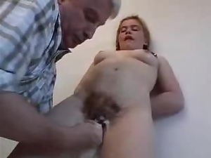 Kinky redhead girl gets fucked by some lewd old man indoors