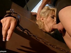 Beautiful blonde girl gets her ass ripped apart in BDSM vid
