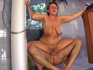 Mature German blonde blows and welcomes the cock in her tight pussy