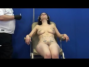 Brunette is wild for needle pain play