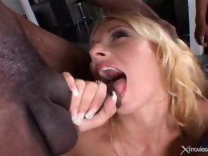 Skinny cutie fucked by black dicks in a gangbang