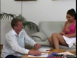 Sexy girl in a skirt seduces him and gets pussy licked