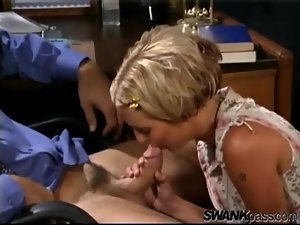 Teen kisses and blows her man in his office