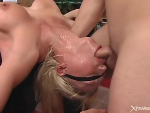 Throat fucking a slutty blindfolded blonde