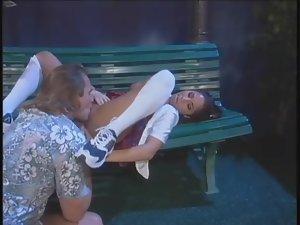 Schoolgirl slut fucked outdoors in a skirt