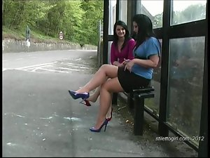 Enjoy hot lesbians in sexy stilettos walking in your fetish