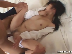 Japanese babe fucked hard at home uncensored