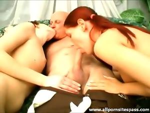 Grandpa blown by a pair of cute chicks