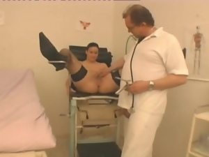 Naughty cunt exam and fuck with old doctor