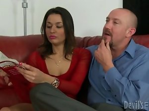 Sexy red dress on a dirty girl that sucks his boner