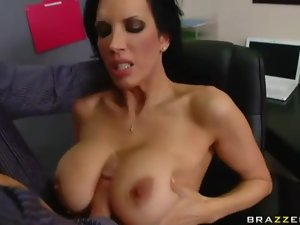 Red blouse on babe sucking a big cock
