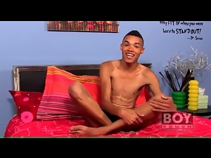 Skinny black twink talks and masturbates