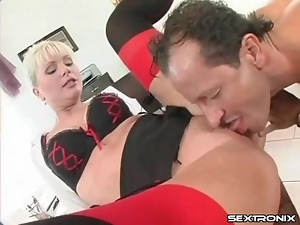 Office slut in sexy bra and stockings fucked
