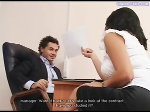 Girl in heels dominates him in office