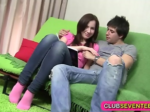 Delightful young brunette fucked at home