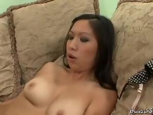 Asian slut in heels seduces white guy for sex
