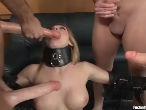 Slut in collar and stockings boned in a gangbang