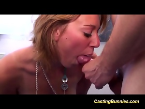 Casting hot bunny taking cock