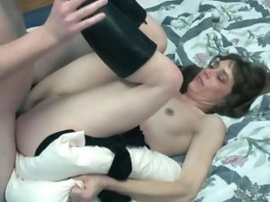 Lady in boots fucked in the wet vagina