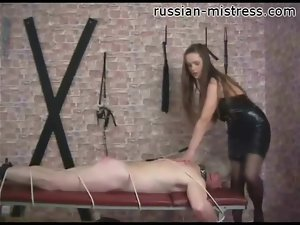His ass is red from pain with mistress