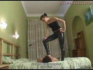 Skintight latex pants on his mistress