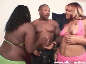 Chubby black chicks dance for black guy