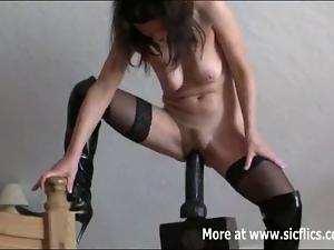 Monster dildo fucking amateur whore
