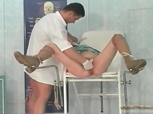 Doctor fists soaking wet mature pussy