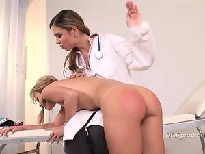 Nasty teen Blue Angel having her nice ass spanked by doctor Peaches