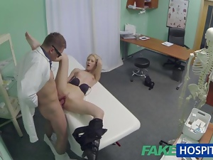 Hot blonde patient rides on doctors cock