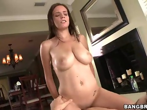 Brunette babe has pussy ravaged and huge tits creamed