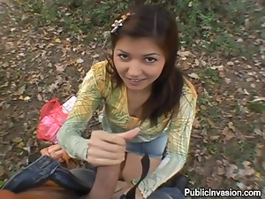 Wild blowjob outdoors